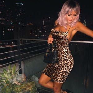 Leopard Print Velour Lace Up Bodycon Dress